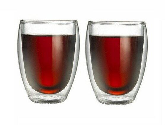 Tiamo耐熱雙層玻璃杯隔熱杯360cc/2入咖啡杯HG2233有效隔熱不燙手-大廚師百貨