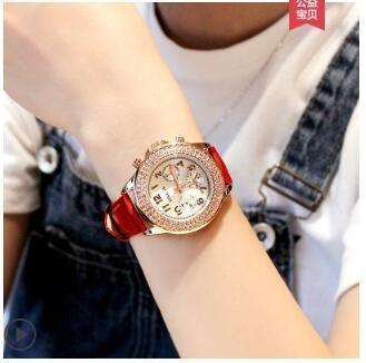 手錶女士學生滿天星簡約氣質機械法國小眾星空皮帶防水時尚ins風