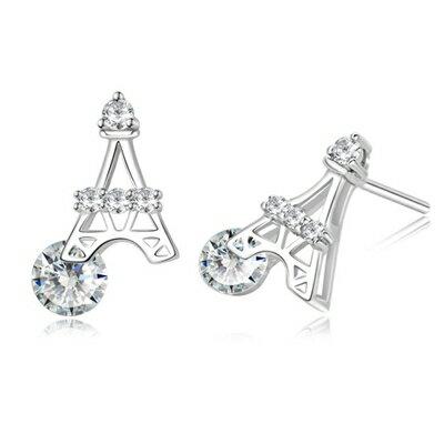 ~925純銀耳環鑲鑽耳飾~巴黎鐵塔 生日情人節 女飾品73dy137~ ~~米蘭 ~