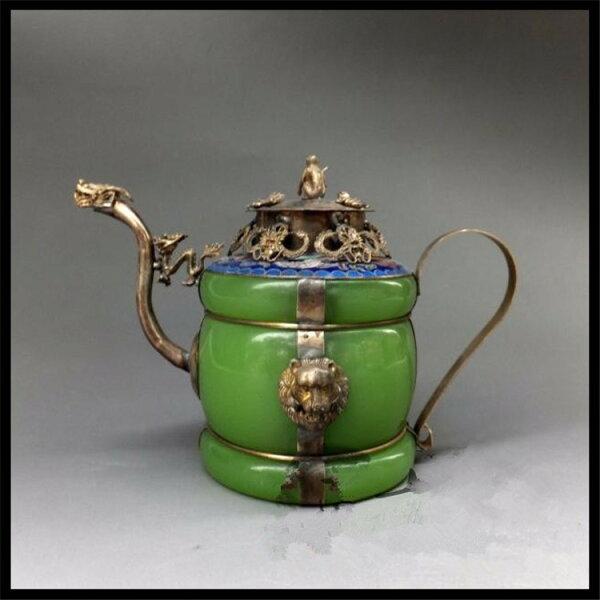 美琪(高檔擺件)瑪瑙玉石龍嘴茶壺仿古收藏銅壺擺件藝品預購7天+現貨