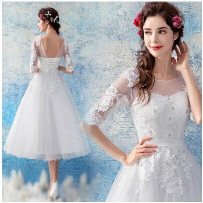 天使嫁衣:天使嫁衣【AE1971】白色中袖網紗氣質中長款伴娘小禮服˙預購訂製款