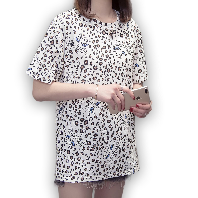 短袖上衣--時尚熱情甜美風滿版貓咪豹紋印圖圓領短袖T恤(白、粉M-3L)-T352眼圈熊中大尺碼 0
