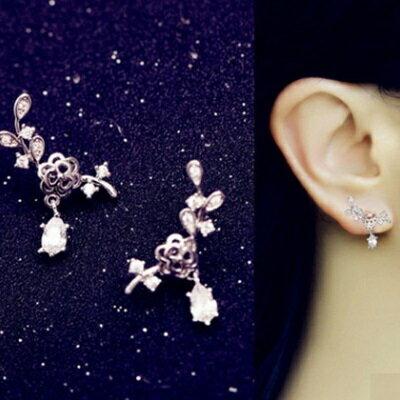 925純銀耳環鑲鑽耳飾~ 甜美花朵水滴情人節生日 女飾品73du37~ ~~米蘭 ~