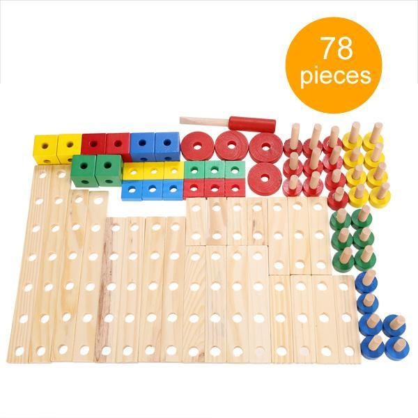Baby 78 PCS Multi Functional Wooden Nuts and Bolts Combination Toys Building Construction Set 3