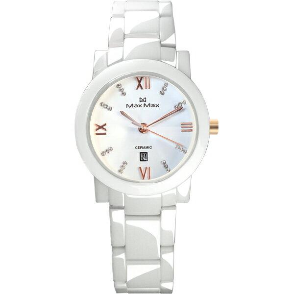 Max Max MAS5080S-2耀光類鑽切割鏡面麗人陶瓷腕錶/白面38mm