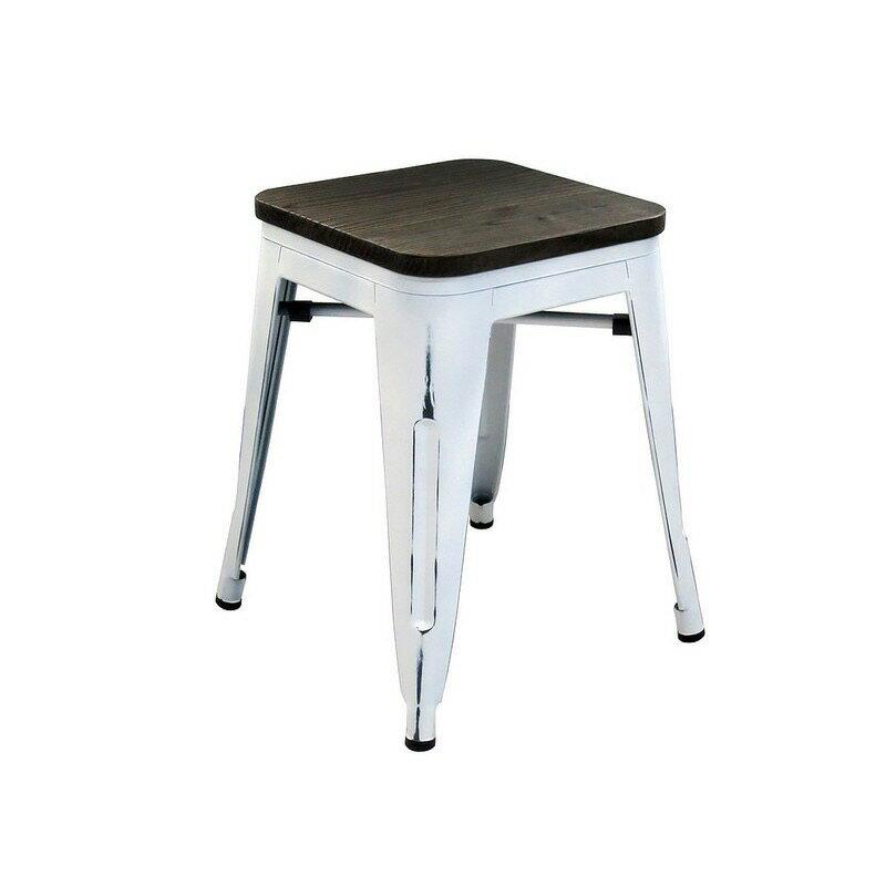 !新生活家具!《奧莉薇》白色 工業風 loft 榆木 吧檯椅 鐵椅 椅凳 餐椅 tolix 復古 刷舊 鐵皮 美式