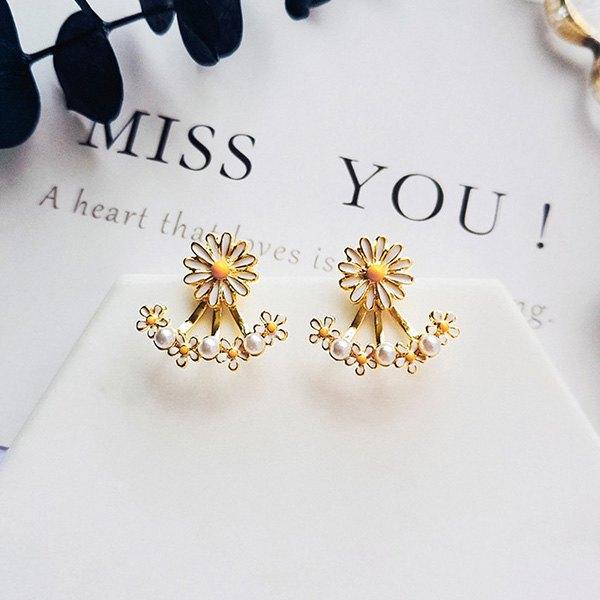 耳環花朵珠珠拼接後掛式氣質甜美耳釘耳環【DD1805060】BOBI0524