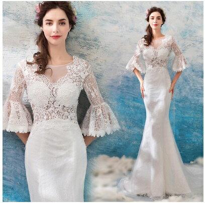 天使嫁衣【AE9206】白色性感蕾絲人魚線條小托尾禮服˙預購訂製款