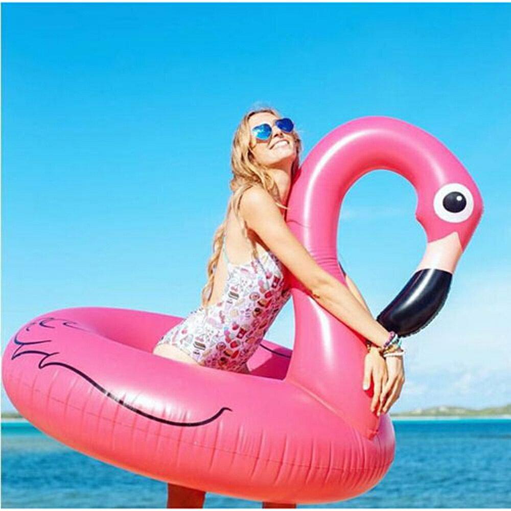 ✤宜家✤紅鶴鳥造型泳圈-120公分 成人 充氣浮圈救生圈加大加厚泳圈 - 限時優惠好康折扣