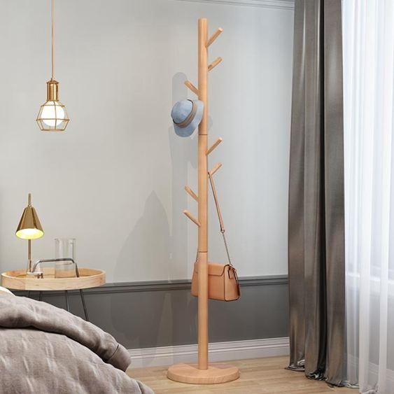 衣帽架 實木衣帽架落地臥室簡約現代掛衣架簡易單桿式家用北歐收納衣服架 cj 雙12購物節