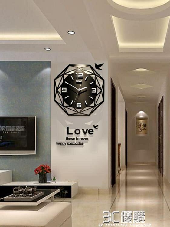 歐式鐘錶掛鐘客廳現代簡約時鐘個性創意時尚錶家用大氣裝飾石英鐘HM 3C優購 雙12購物節