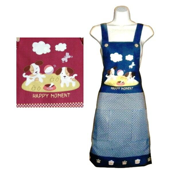 小狗口袋細格紋圍裙F544 ~藍 ~  好康折扣