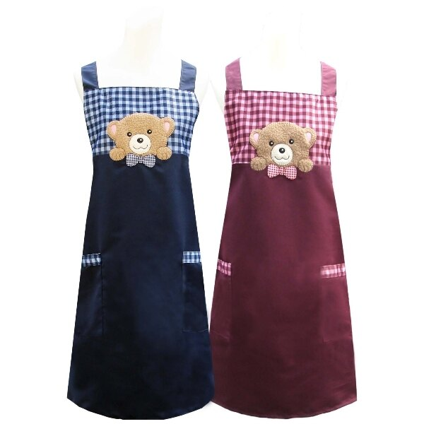 好奇熊口袋圍裙^(藍 紅^) 1入CC526 ~  好康折扣
