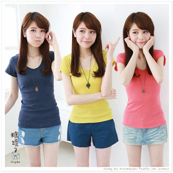 糖罐子純色V領羅紋棉衫→預購【E31260】 2