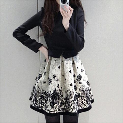印花長袖裙修身收腰假兩件連身裙 (S~XL) - ORead 自由風格