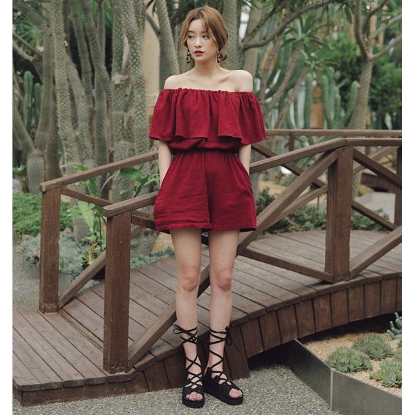 棉麻荷葉連身褲 短褲 一字領露肩平口 性感女神顯瘦套裝 紅藍 韓