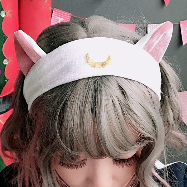 46ff972f3441 美少女战士发带猫耳朵月亮头饰发夹洗脸发带化妆可爱
