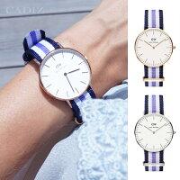 情人對錶推薦到【Cadiz】瑞典正品 Daniel Wellington 手錶 0509DW玫瑰金 0609DW銀色 CLASSIC TRINITY 藍白紫錶帶 蛋殼白錶盤 36mm 對錶 情侶錶 男女錶 兩年保固就在Cadiz代購精品推薦情人對錶