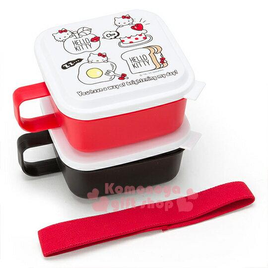 〔小禮堂〕Hello Kitty 日製單耳保鮮盒組《2入.方型.紅黑.大臉.吐司.荷包蛋》附彈性束帶
