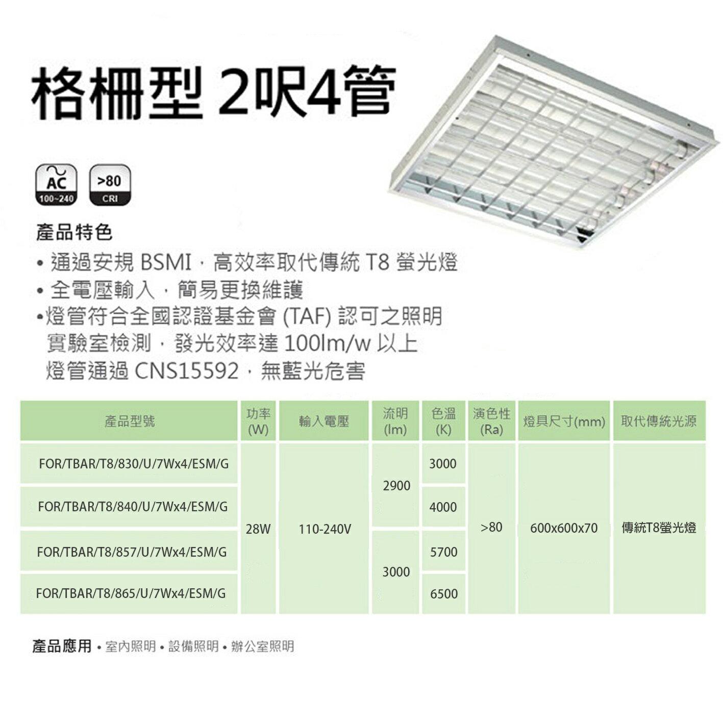 億光 2x2 格柵型 輕鋼架 28w 節能標章 白光/自然光/黃光〖永光照明〗UE4-FOR-TBAR-LED-28W-ESM