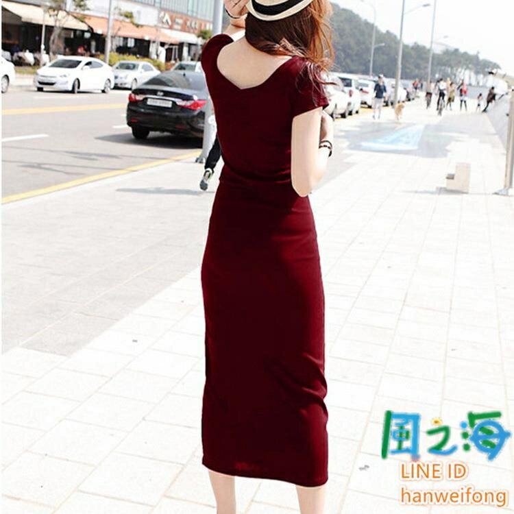 洋裝短袖連身裙夏韓版莫代爾長裙字母圓領短袖薄款修身顯瘦連衣裙【風之海】