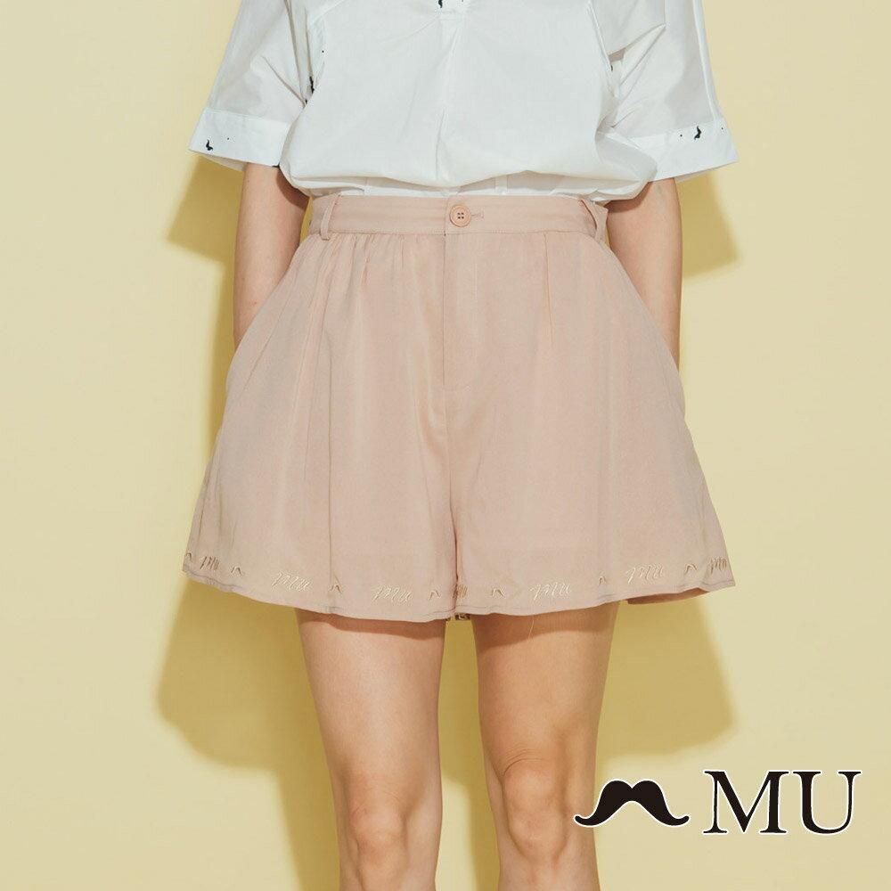 【MU】素面擺百搭低調刺繡短褲裙(2色)8325163 5
