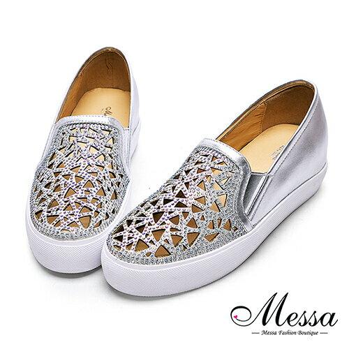 【Messa米莎專櫃女鞋】小羊皮簍空水鑽雕花內增高包鞋-銀色(現貨+預購)