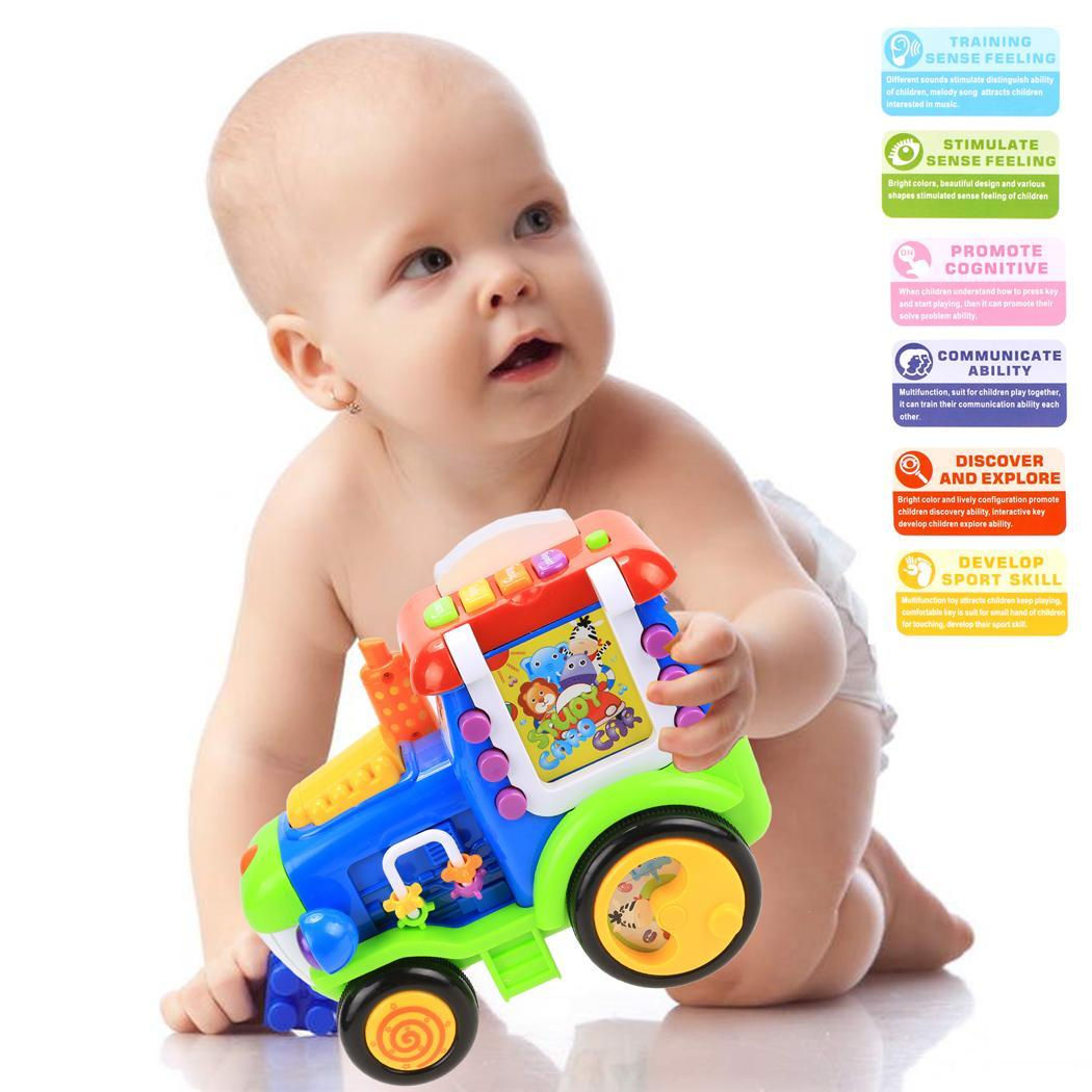 Baby Light Music Card Learning Educational Electric Train Rractor Pull Toy 0