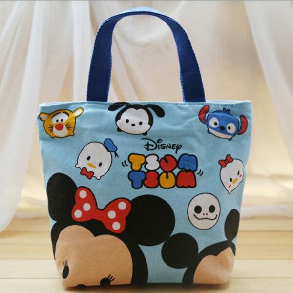 糖衣子輕鬆購【BA0047】迪士尼卡通帆布手提袋媽咪kitty包便當袋小丸子資料手提包