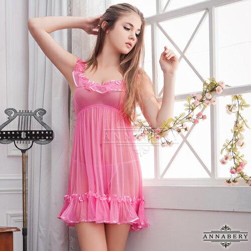 大尺碼Annabery荷葉飾邊粉紅柔紗二件式睡衣 SEXYBABY 性感寶貝 NY14020052