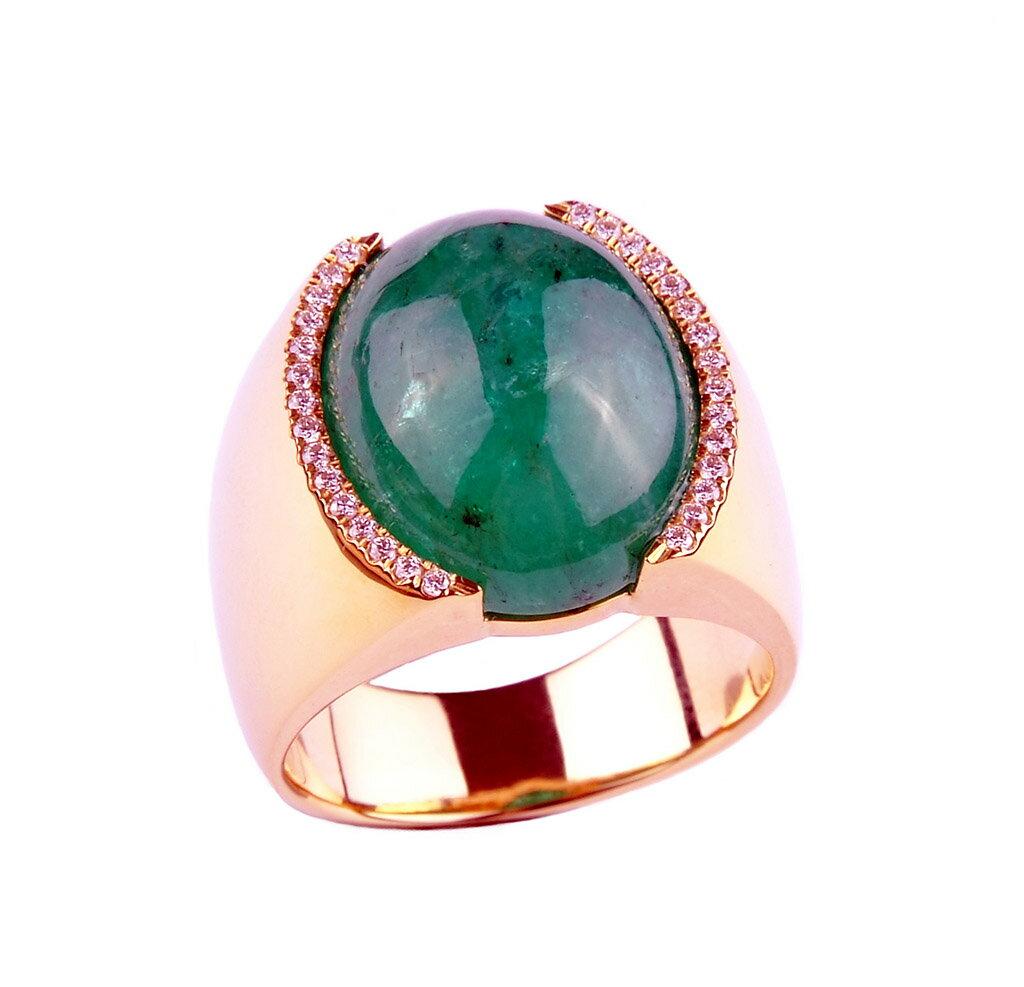 ~樂采珠寶~18k黃金 滿滿-祖母綠珠寶戒指.