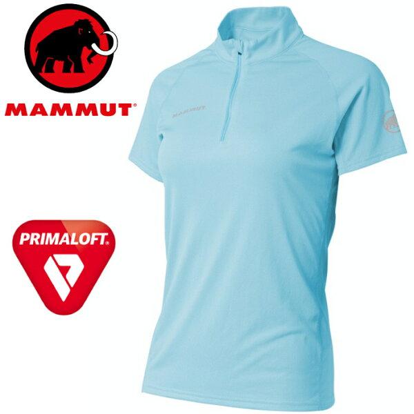 Mammut長毛象排汗衣快乾登山運動短袖排汗衣短袖半門襟PfDryZipTsh女款亞版1017-0043050037自在藍