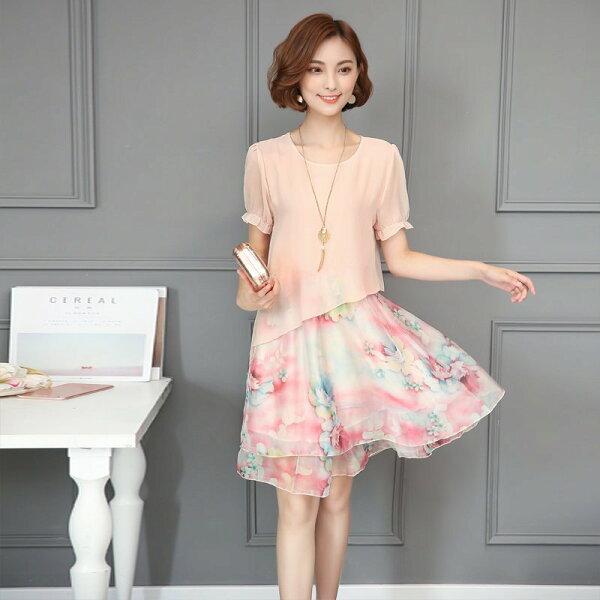 FINDSENSEG5韓國時尚大尺碼女裝碎花假兩件式雪紡印花連身裙
