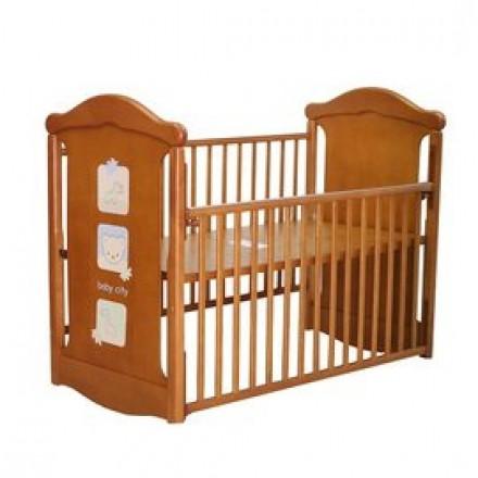 【Baby City娃娃城】動物熊搖擺中大床+ 床墊-柚木色