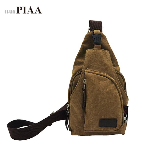 85~8026~PIAA 皮亞~咖啡色帆布單肩胸背包