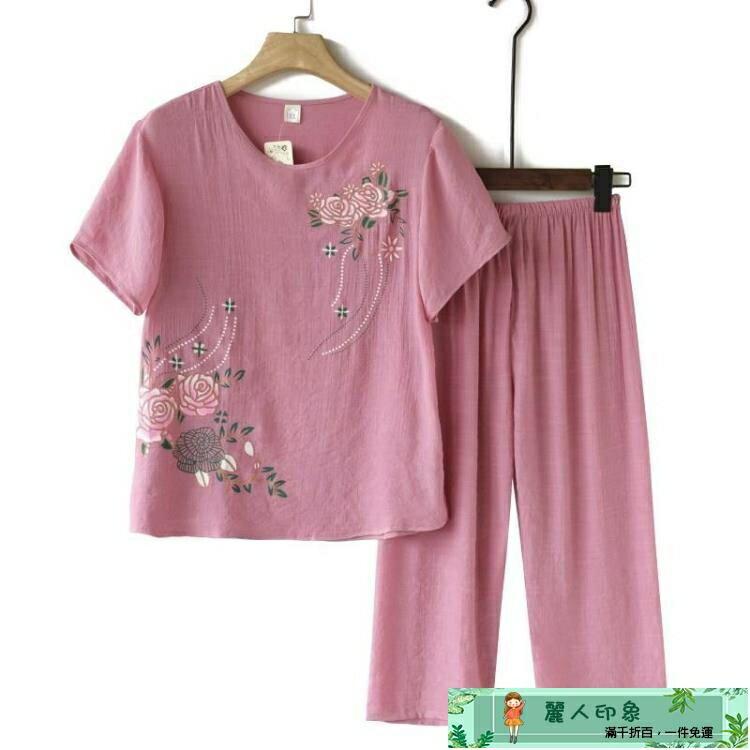 85折!限時搶購!媽媽套裝 中老年女裝夏季套裝純棉麻媽媽裝短袖T恤褲子兩件套老人奶奶衣服