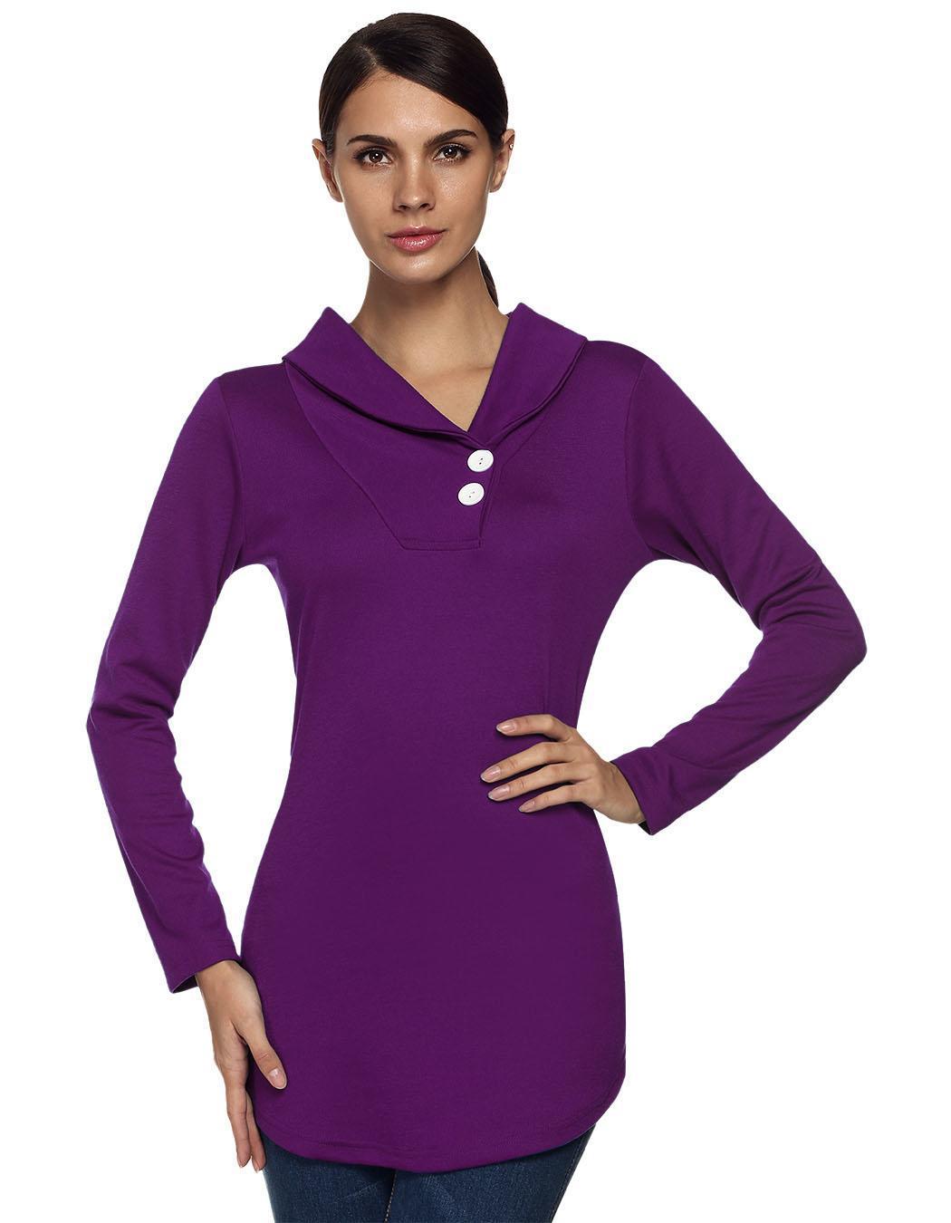 Women Shawl Collar Long Sleeve Solid Tunic Outwear Tops Blouse Coat 2