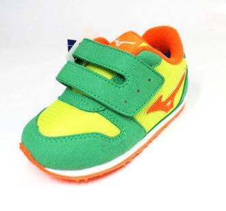 MIZUNO美津濃 幼童鞋 促進發育鞋墊 魔鬼氈 學步鞋 布鞋 TINY RUNNER K1GD163235(蘋果綠/紅)[陽光樂活]