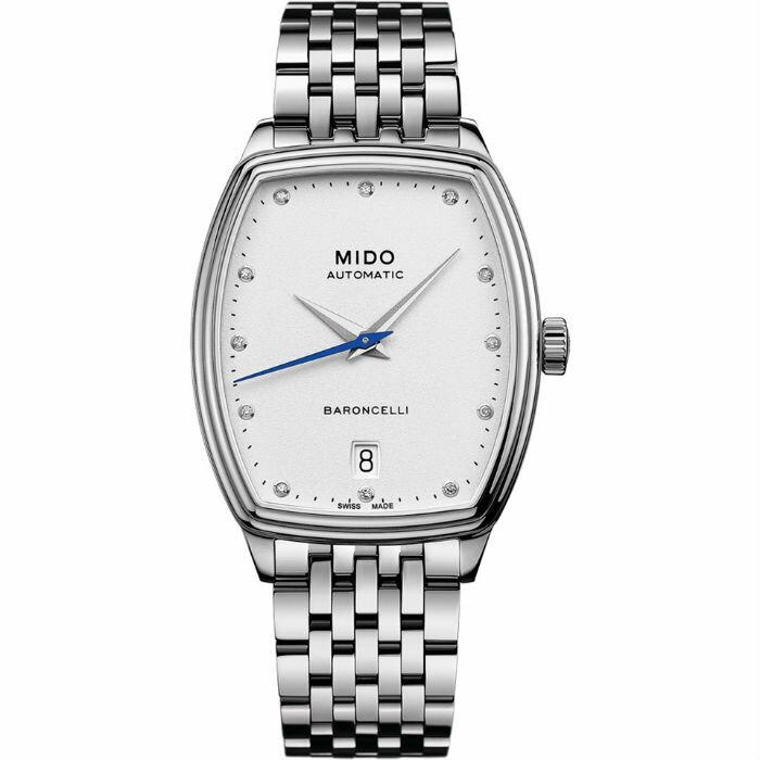 Mido 美度錶 M0413071101600 Baroncelli系列 酒桶型撫媚優雅機械腕錶 / 白 30.5X35mm