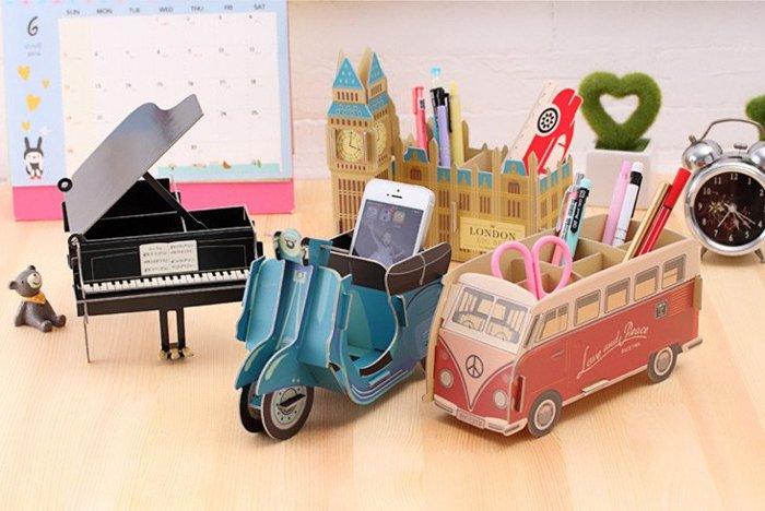=優生活=韓國創意DIY摩托車 巴士 鋼琴 大笨鐘 公車收纳盒 辦公桌收納 化妝品盒 儲物盒 桌面收纳盒 筆筒