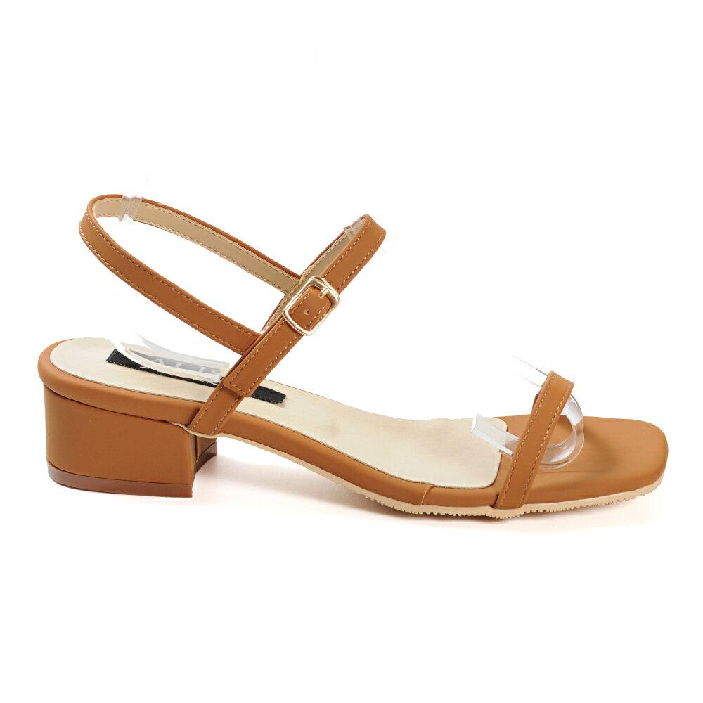 涼鞋 簡約一字帶側釦方頭低跟涼鞋-棕