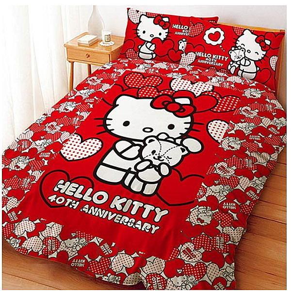 LUST寢具 【Hello Kitty 與Bear 】床包/枕套/被套、日本卡通授權、台灣製