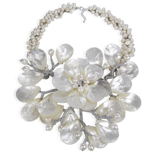 Colossal Floral Mother of Pearl .925 Silver Necklace 0