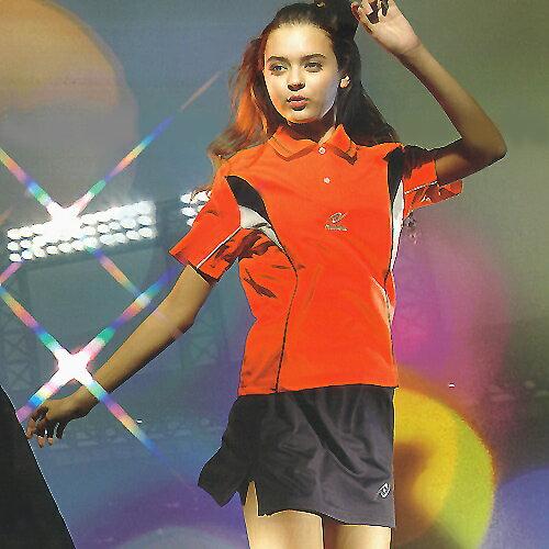 日本名牌 Nittaku 女版吸濕排汗短POLO衫-深橘#3438