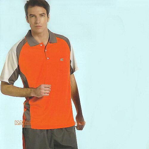日本名牌Kawasaki男女運動休閒吸濕排汗短POLO衫(K2221A-橘灰) - 限時優惠好康折扣