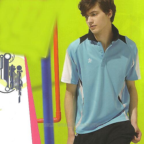 MILD STAR 男女吸濕排汗短POLO衫-水藍-LS5013-13 - 限時優惠好康折扣