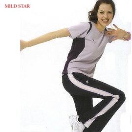MILD STAR 女版吸濕排汗韻律服套裝 [淺紫上衣+深藍長褲]#AS202820+PW107703 - 限時優惠好康折扣
