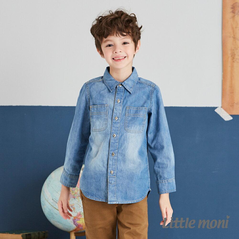 Little moni 牛仔水洗襯衫-牛仔藍 0