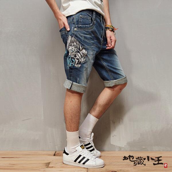 【限時5折】般若地藏精繡短褲(丹寧)-BLUEWAYJIZO地藏小王