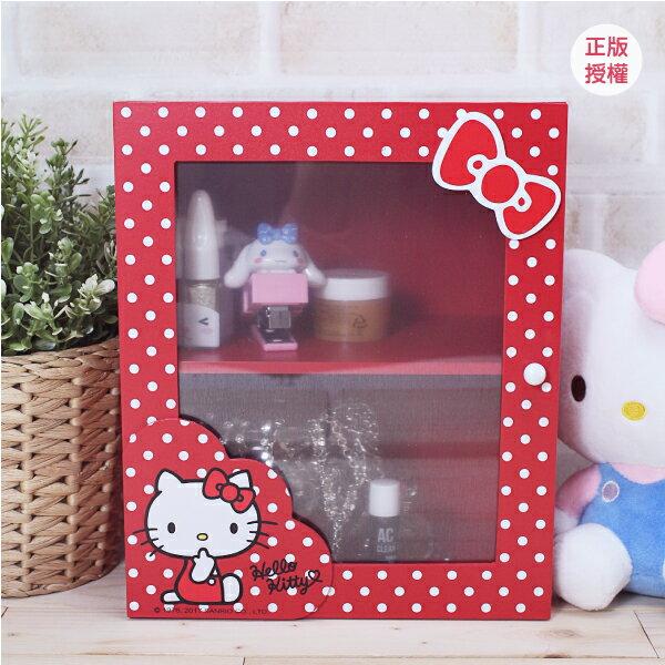 Hello Kitty 圓點風桌上三抽拉門盒-紅 置物櫃 小物收納 文具收納 三麗鷗 蕾寶 生日   情人節 聖誕 化妝盒